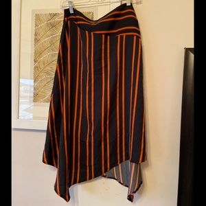 Orange and blue striped midi skirt - cotton on